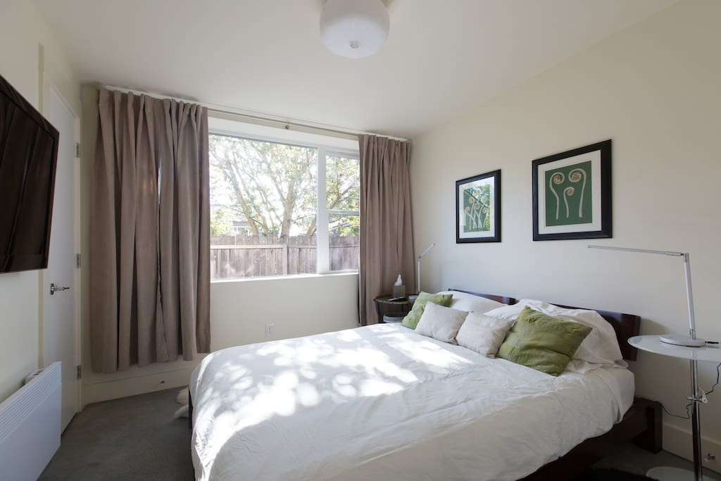Large windows allow plenty of sunlight. Black out curtains block the light while you sleep.