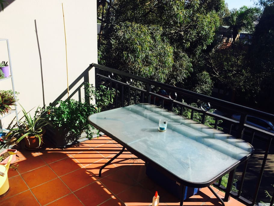 Balcony! There are a few comfy chairs that go out there and a BBQ too