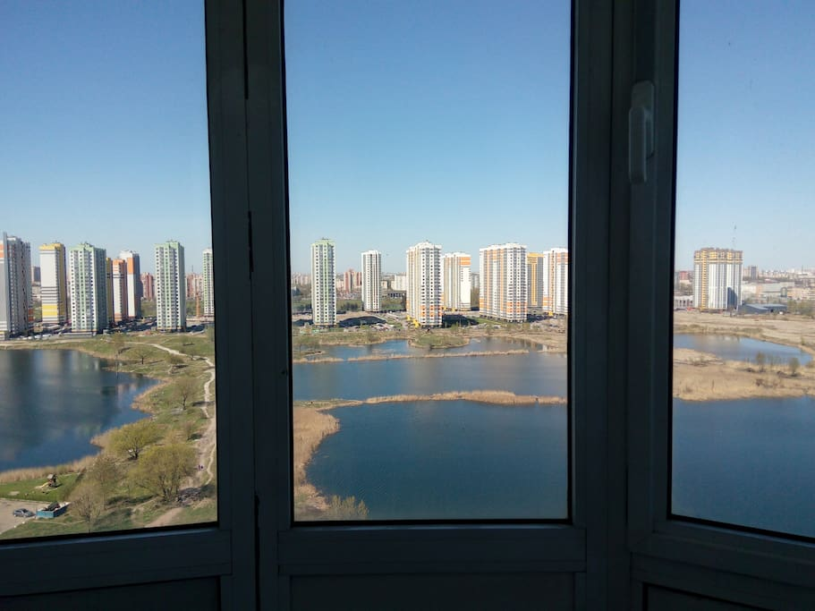 The apartment is situted on the Silver Springs Ponds inside the St.Peterburg city