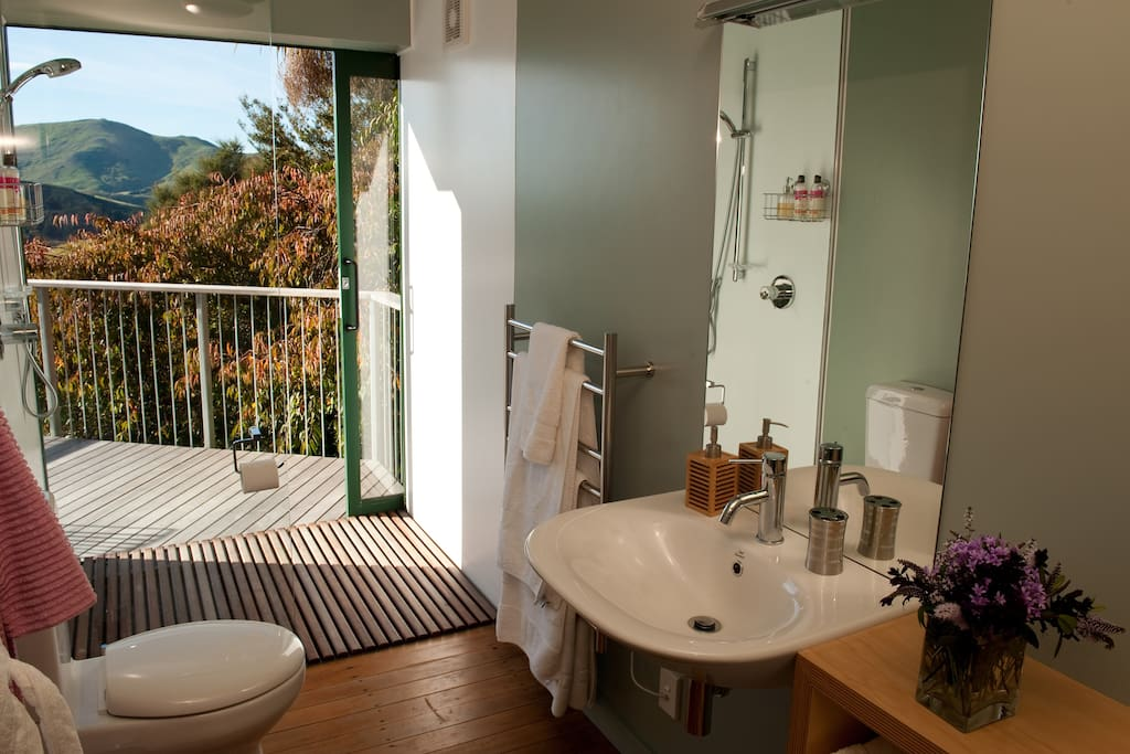 Bathroom with sliding door from shower on to the deck