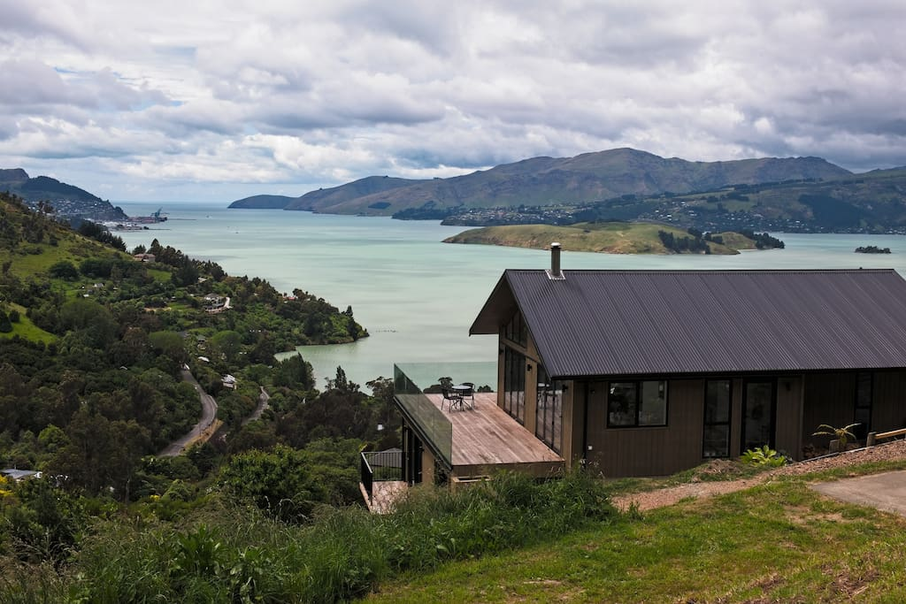 View of our home with uninterrupted views of the Lyttelton harbor.