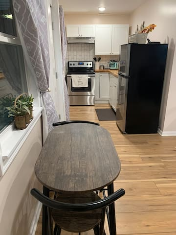Full Kitchen Space, with all cooking essentials available,  coffee and coffee maker provided