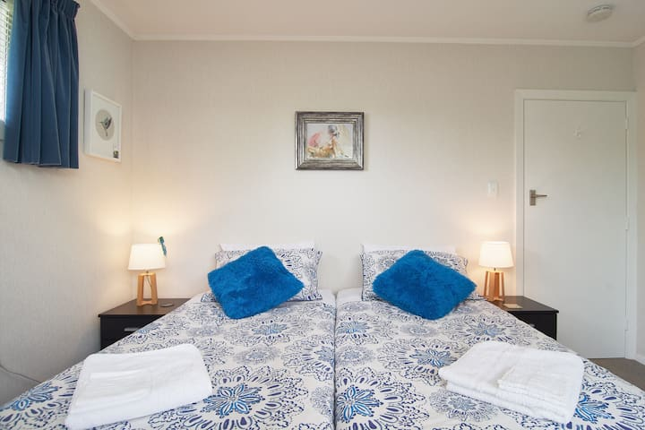 Light blue room with 2 king size beds downstairs.