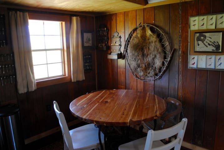 Enjoy breakfast at this cedar table that my husband made.