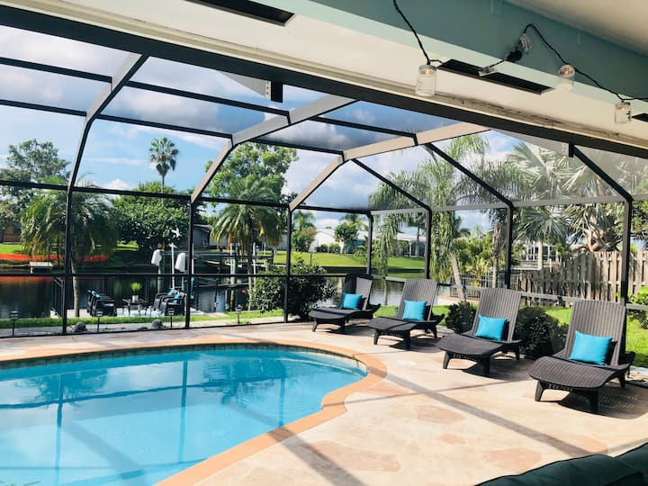 Waterfront home with heated pool and gulf access.