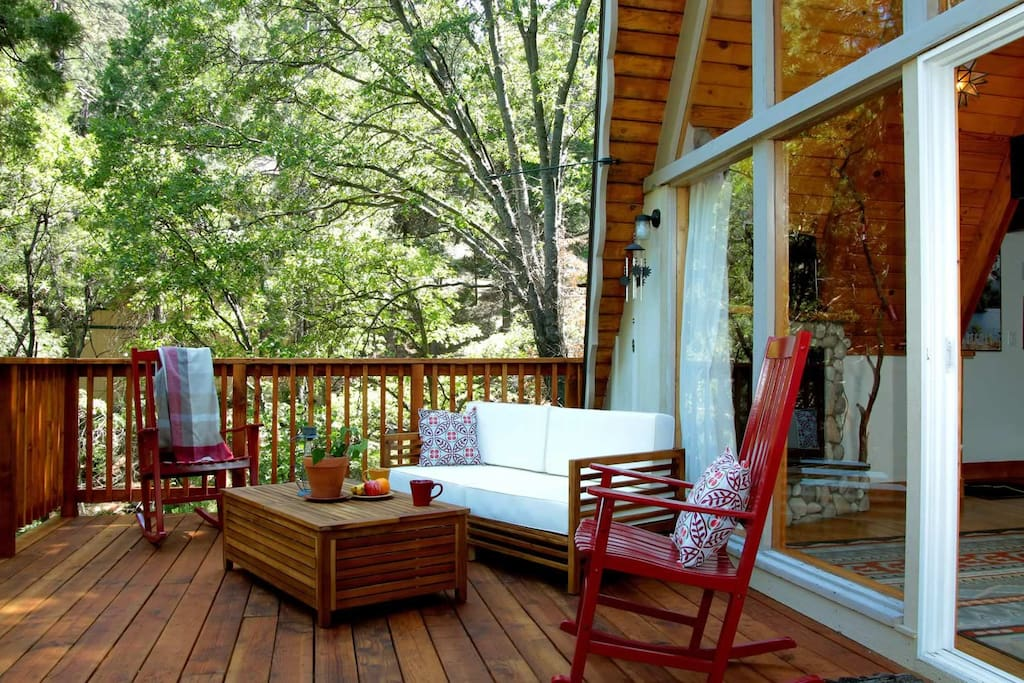 Beautiful large private sun deck in the forest lets you sit back and enjoy the natural  surroundings.