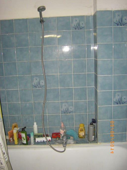 une salle de bains avec baignoire, douche, wc et évier