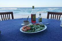 Hungry? We can cook for you or you can use the kitchen to prepare meals.  Dine al fresco and enjoy the sea air and beach view!