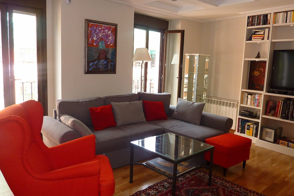Living room, 3 windows East, third floor.