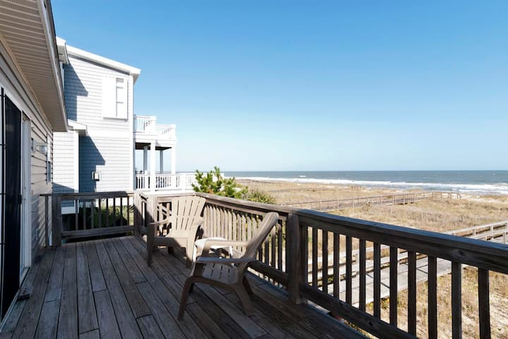 Beach Times-Unique single family home right on the ocean not far from the Kure Beach Pier