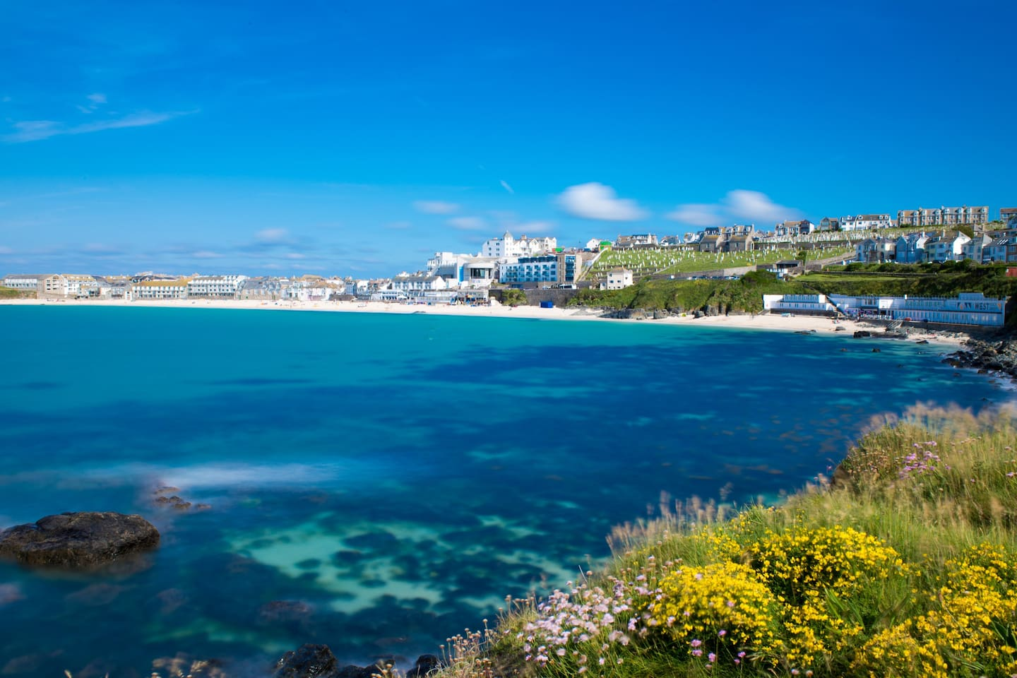 View of Porthmeor Beach from Mans head coastal path, just 3 minutes walking from apartment.