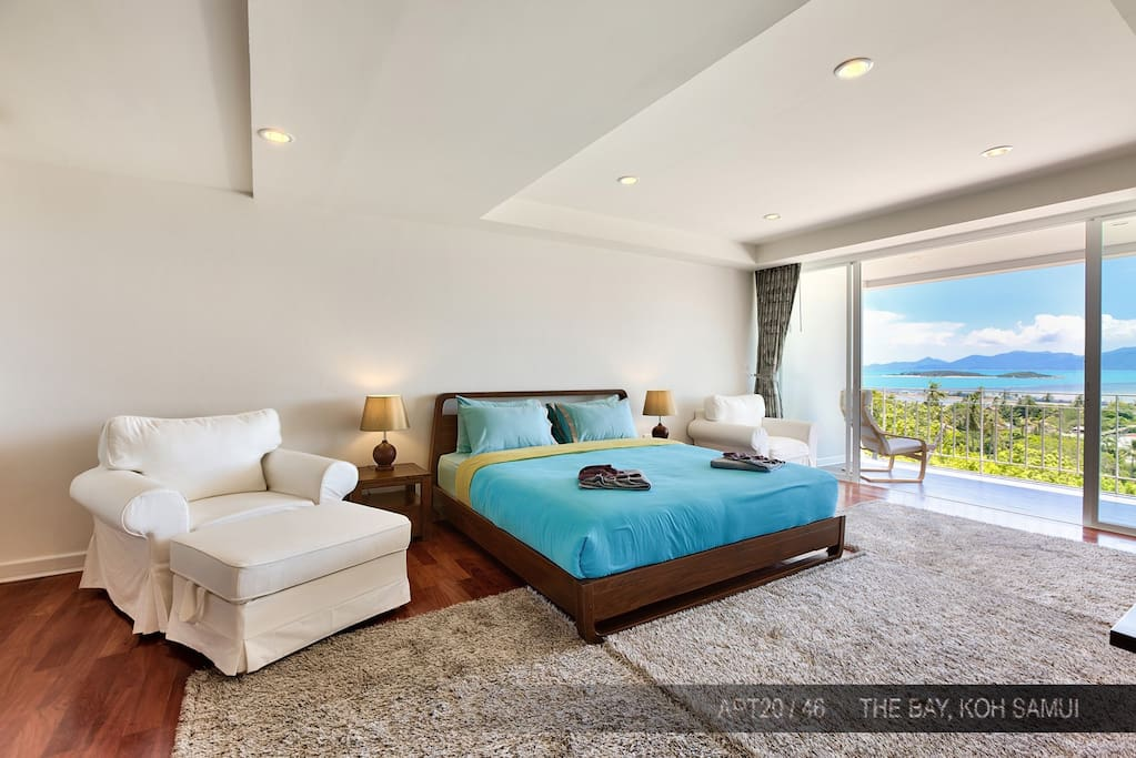 Large bedroom, wood floor and that view