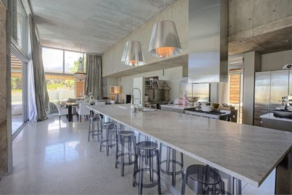 Huge marble kitchen counter for entertaining