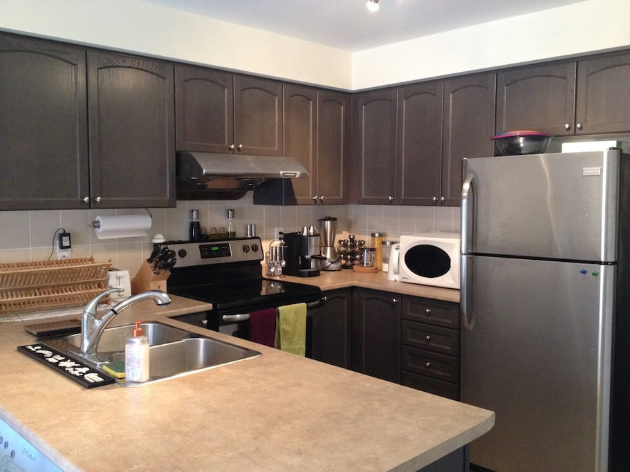Fully equipped kitchen with oven, stove, freezer, fridge, microwave, and dishwasher