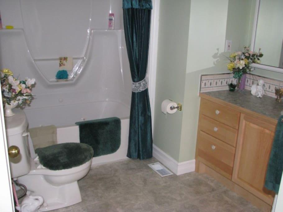 Bathroom with whirlpool tub/shower