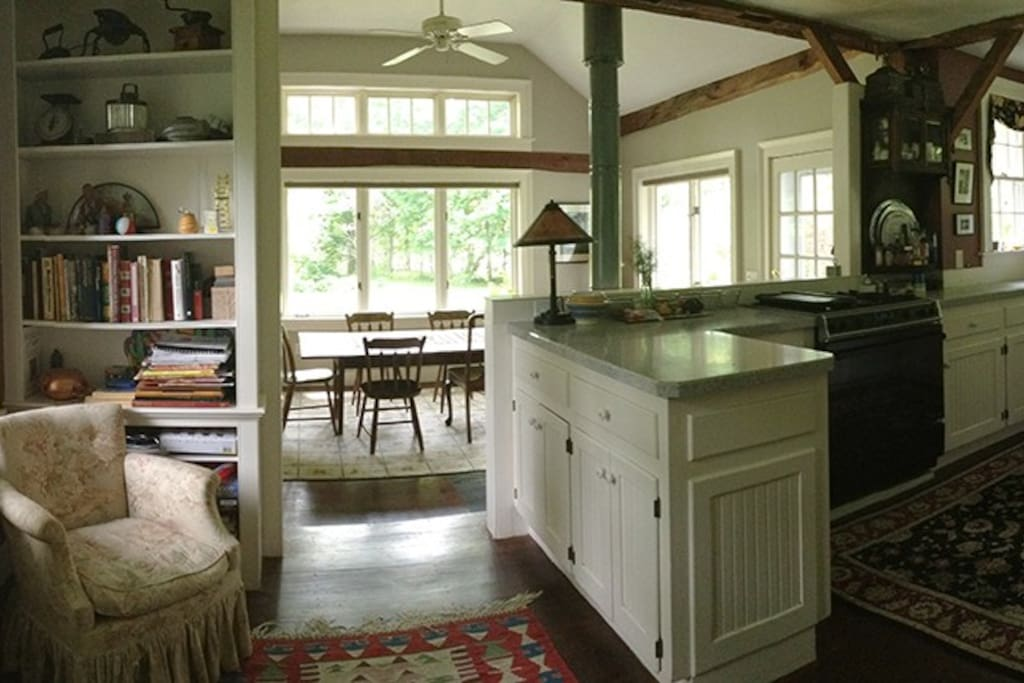 The open plan for the kitchen is light-filled from a southern exposure.