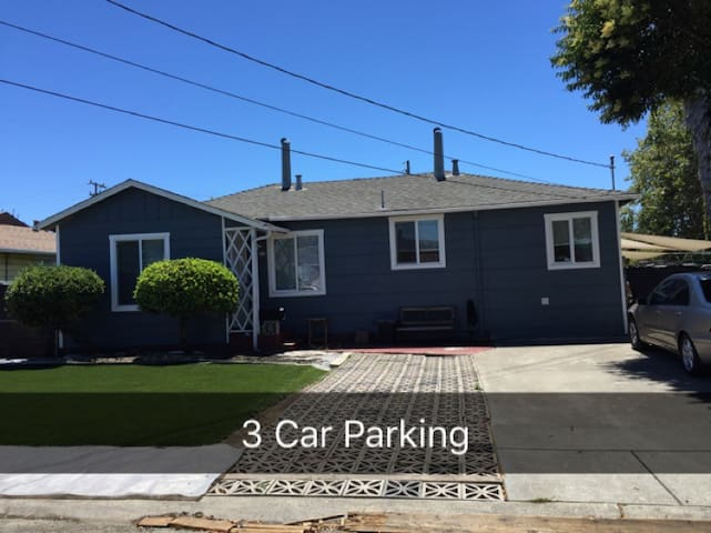 Plenty of parking in the driveway for up to 3 cars.