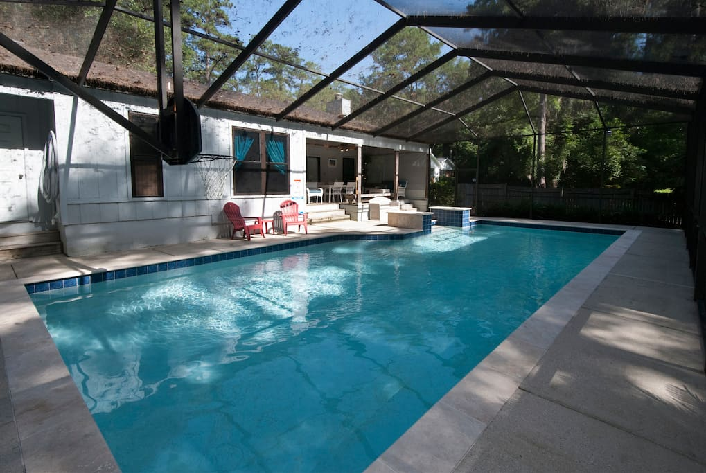 The pool in late afternoon gets a good deal of shade so you can swim without fear of sunburn!