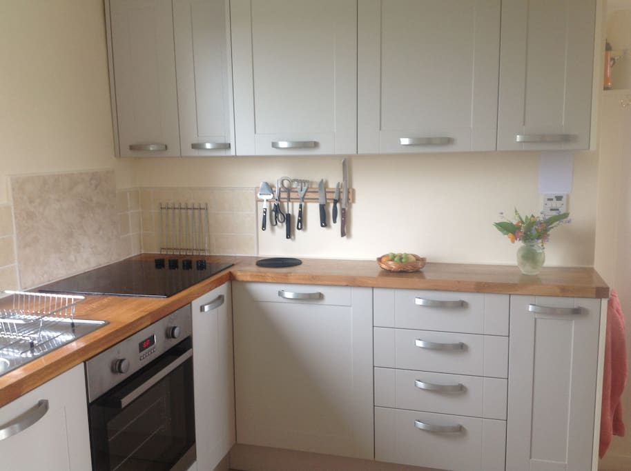 Our new fully fitted kitchen with everything you will need for a self catering holiday.