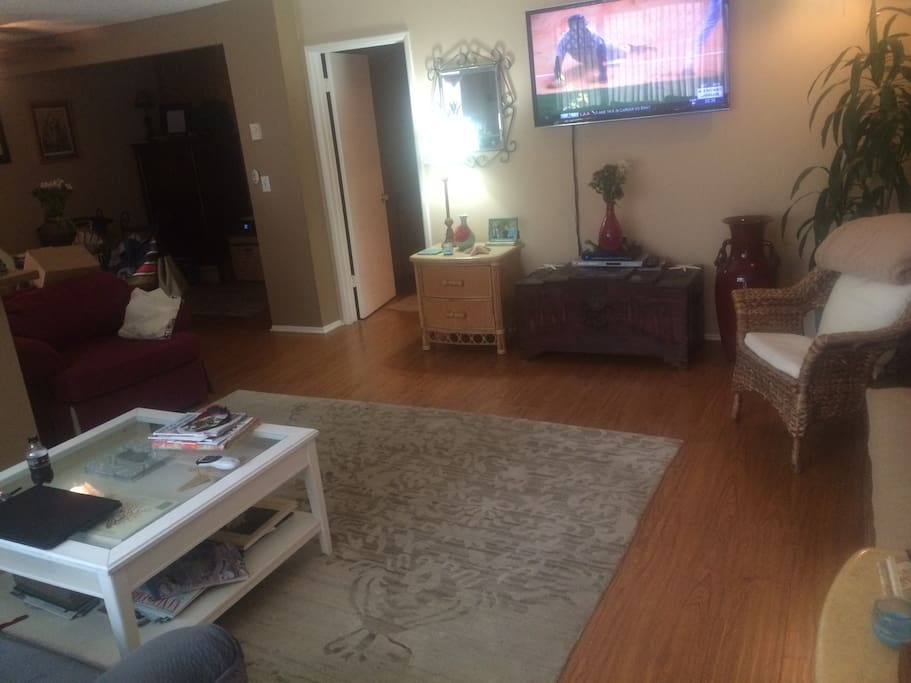 Living room with 50 inch flay screen is Spacious