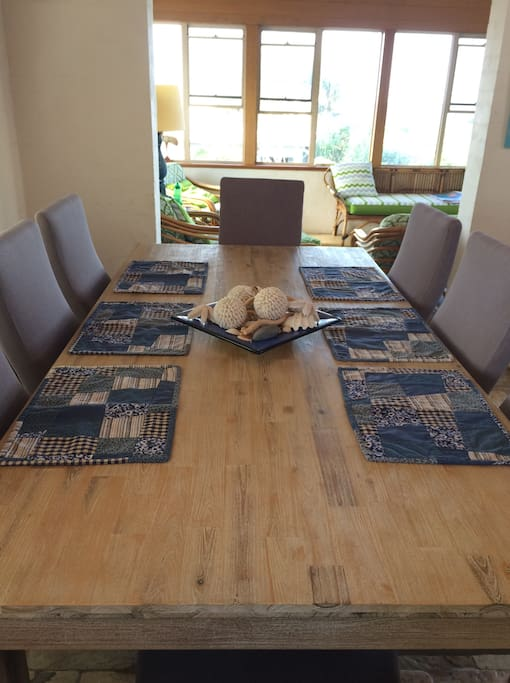Dining table that easily seats 8