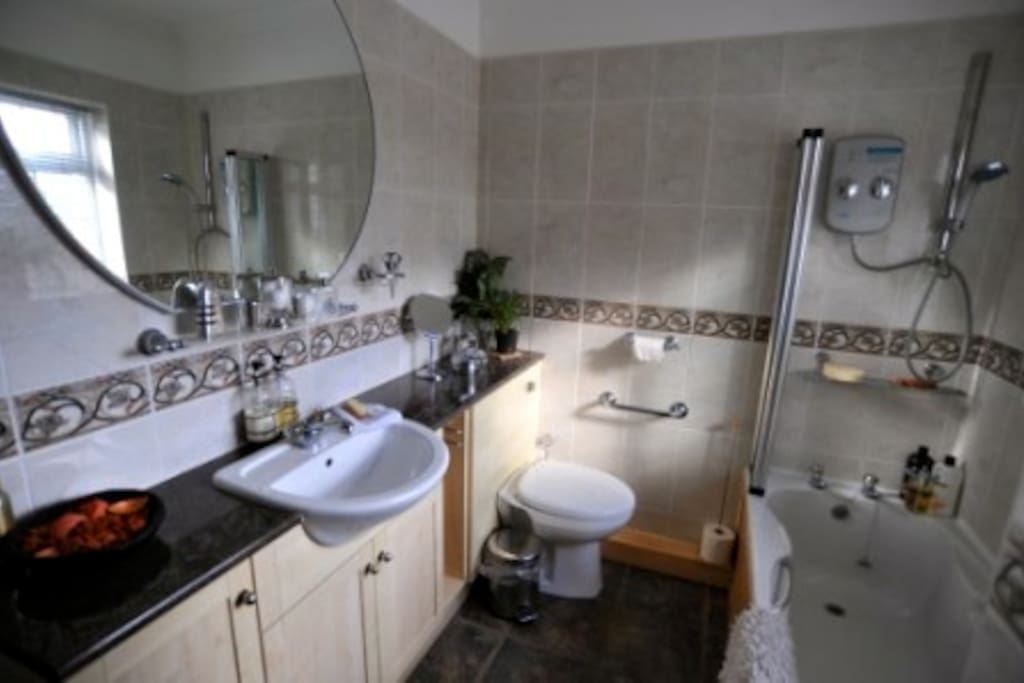 fully fitted bathroom with shower towels provided