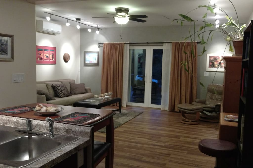 Private living room adjacent to quest bedroom, private entry  sliding doors