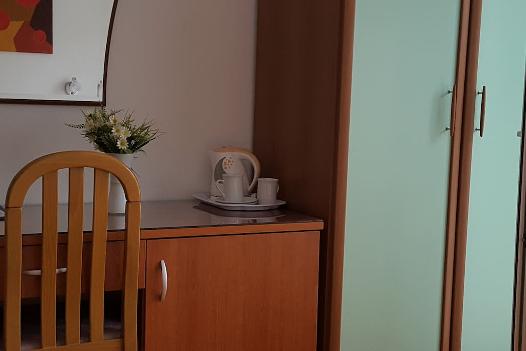 Small fridge and kettle available in the room