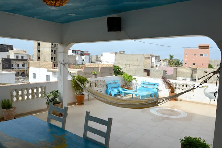 Room on the terrace in the centre of Ngor Village