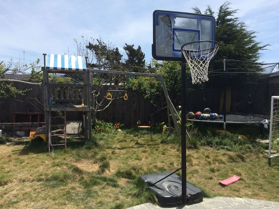more back yard.  swing, trampoline, BB hoop