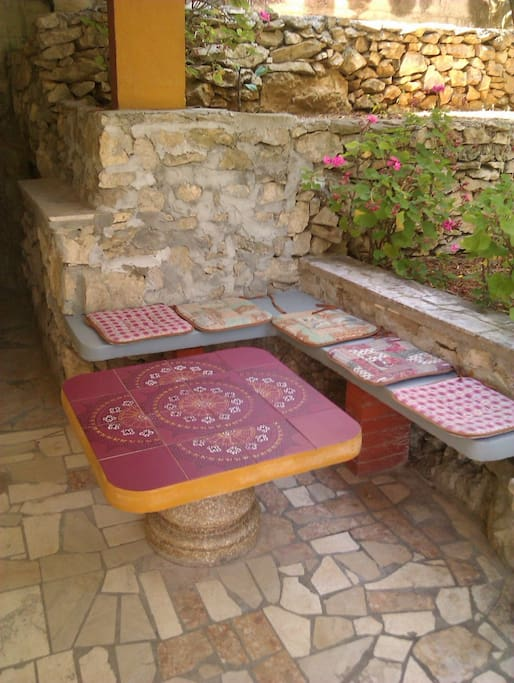A place to sit and relax, play cards, drink tea or read a book during the hot afternoons.