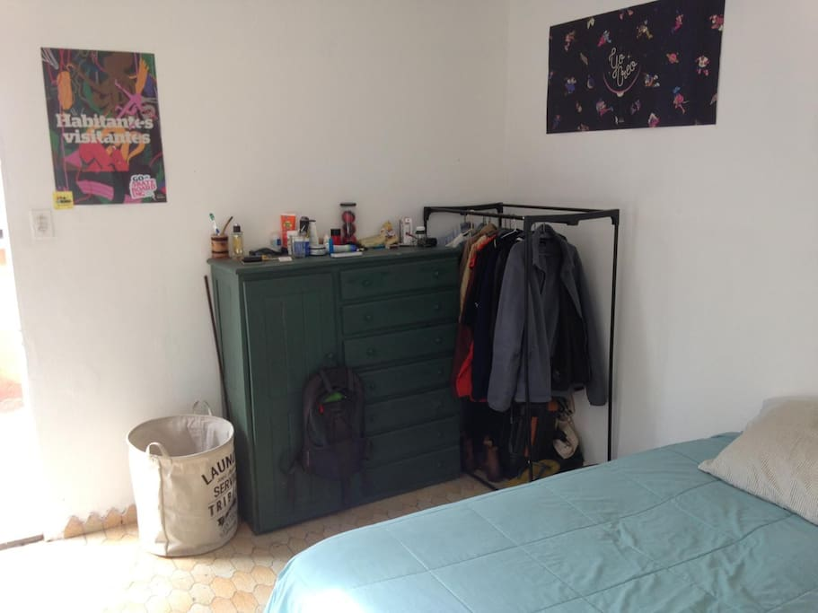 This is the room for rent. My friend is still there so we could change the decoration. I hope you like it.