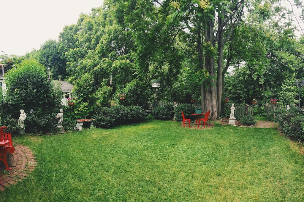 Part of the backyard with plenty of places to sit and relax