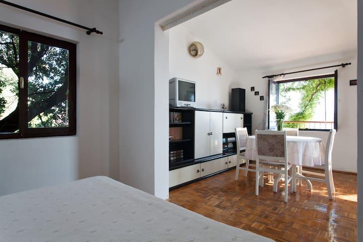 Bedroom and dining/living room, Apartment Maja & Mate, Stanići, Omiš, Croatia