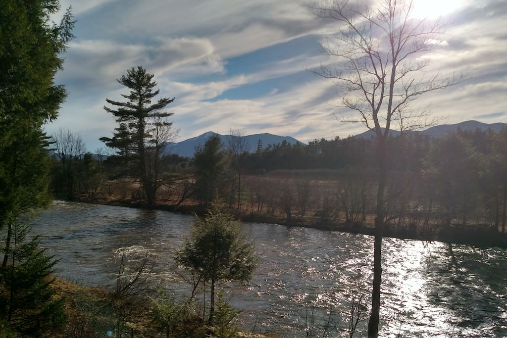 View of Whiteface Mountain across the river