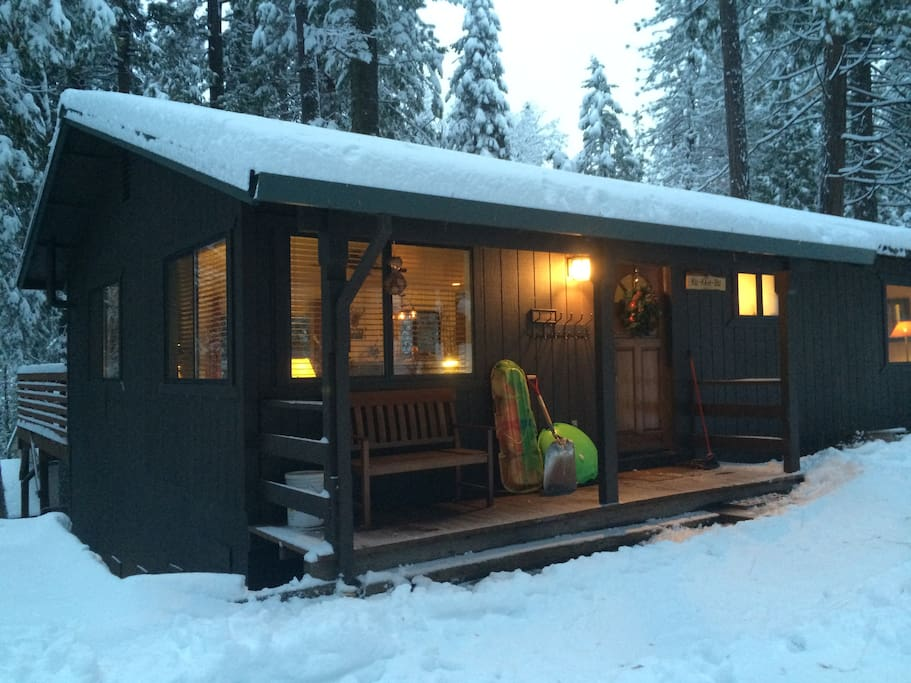 Our cozy cabin is at 4,000 feet, so access is easy with heavier snow up the hill