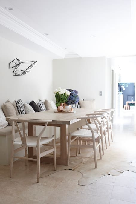 Dining table seats 8 people