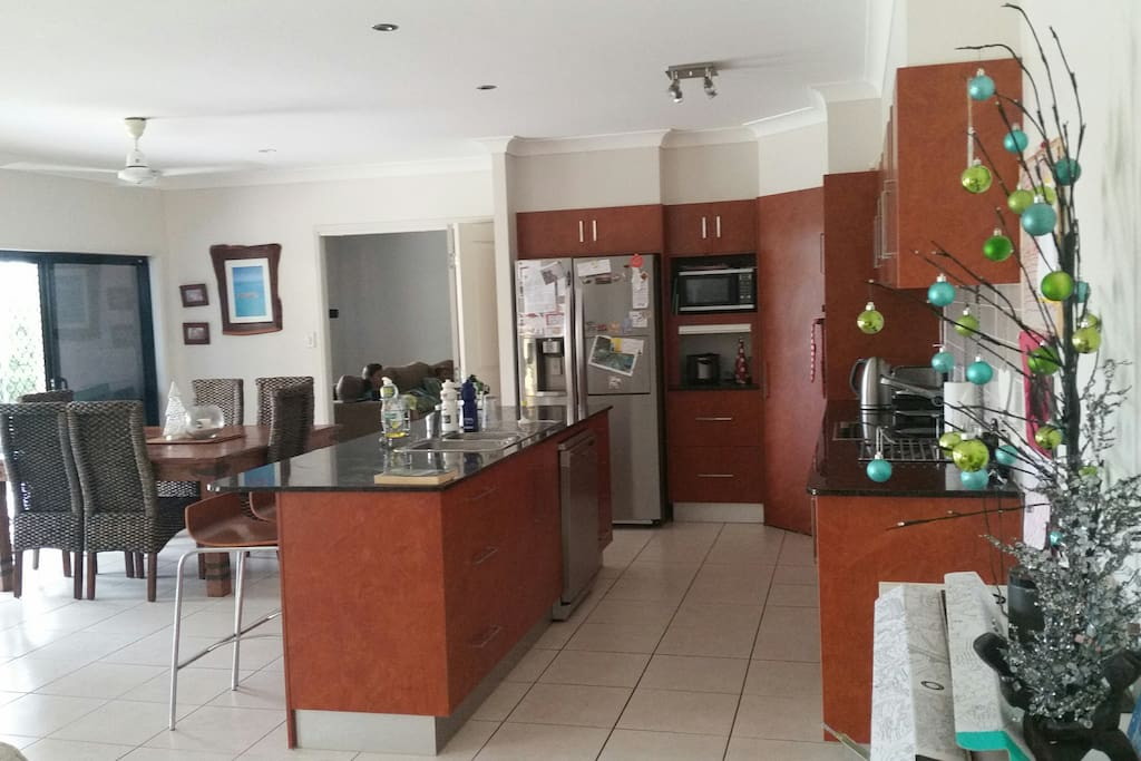 Large kitchen with dining area and sitting area