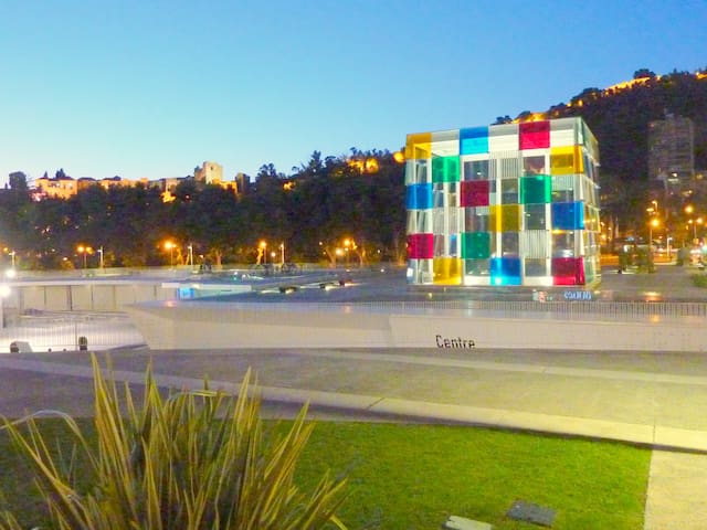 THE ENVIRONMENT. MALAGA CENTER PONPIDOU AND THE  ALCAZABA CASTLE.
