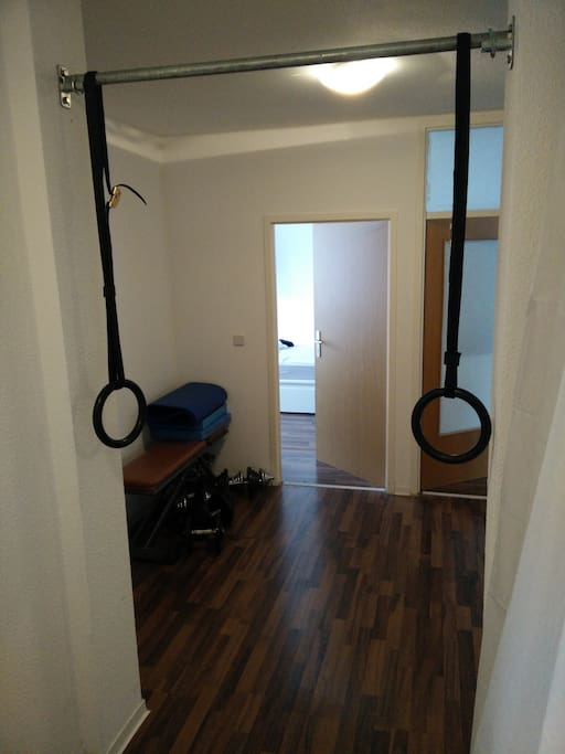 Corridor with fitness equipment you may use