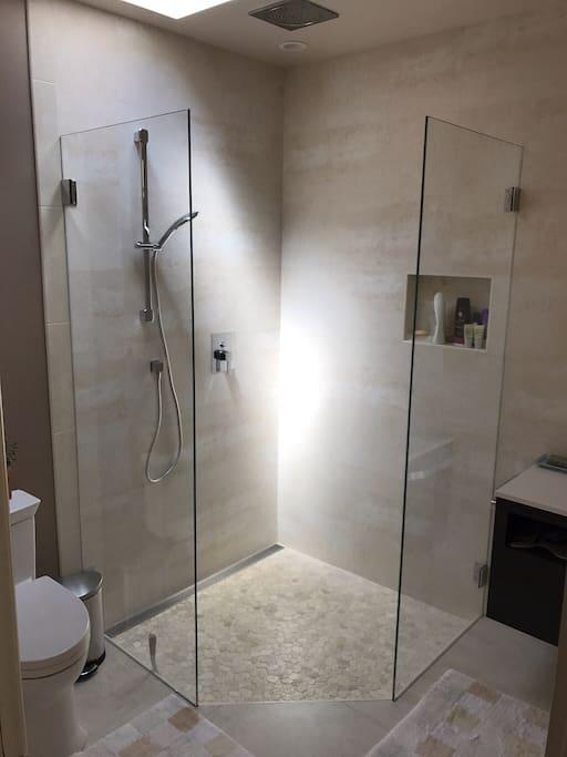 Bathroom with waterfall shower