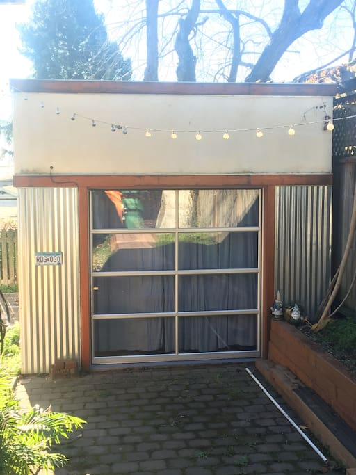 Private access and roll up door for sunny days