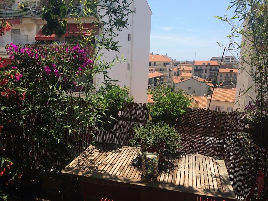 Terrasse sans vis à vis. Vue agréable et très dégagée .
