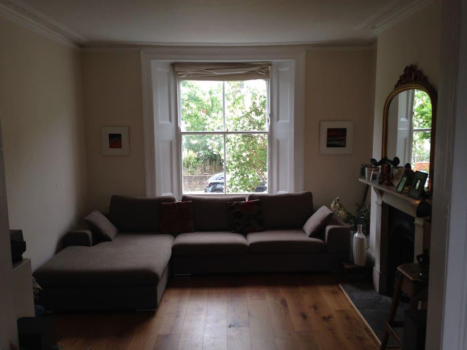 The living room, with Dwell Verona luxury sofa.