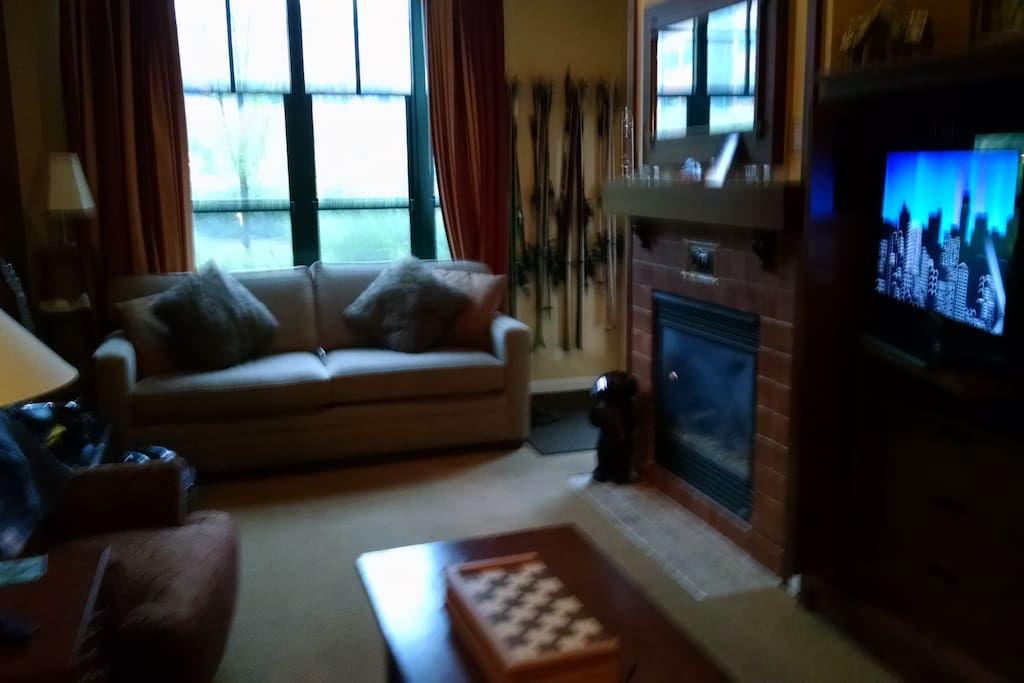 Room to roam and second TV , pull out bed and fire place