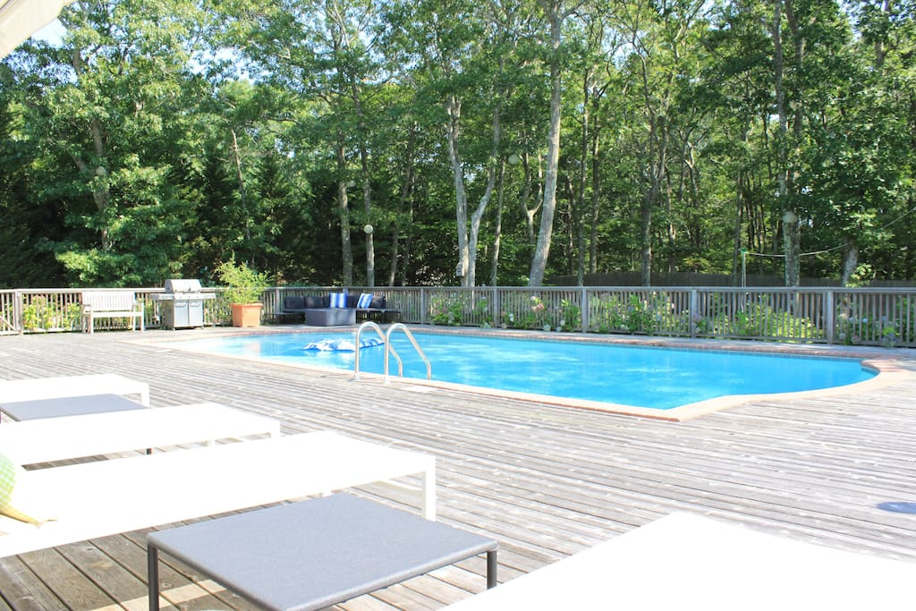 Spacious deck with retractable awnings to enjoy sun or shade.