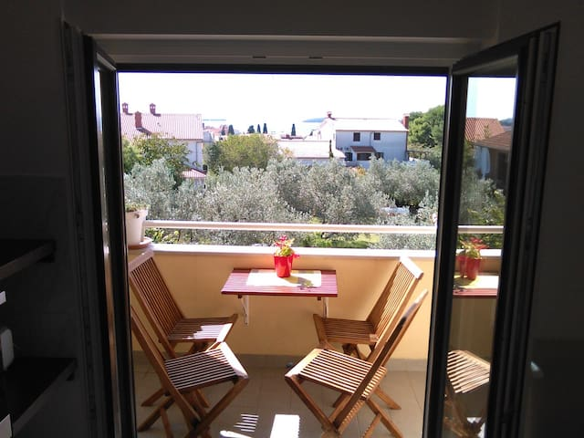 Two-bedroom apartment with sea view, parking, WiFi
