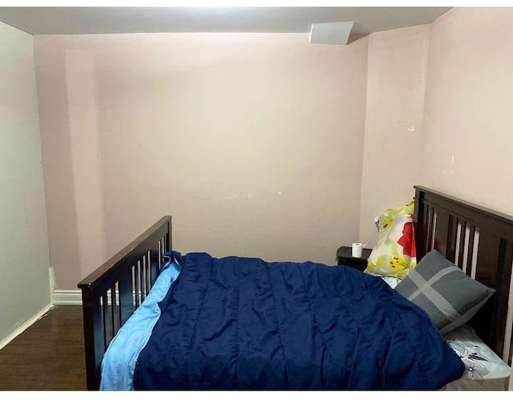 One fully furnished bedroom in walkout basement