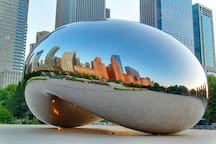 Take the CTA L train direct to Millennium Park, and The Bean!