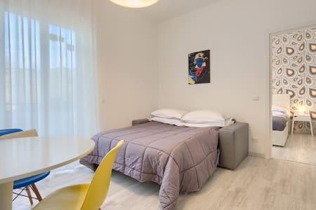 living con divano letto e tv balcone vista